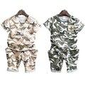 2016 Verão Meninos Roupas de Bebê Menino Estilo Militar de Camuflagem Crianças Camisetas Calças Camo Crianças Uniformes Roupas Sol Descendentes