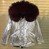 Farklı renk ile yeni İtalya tasarım şerit renk kadınlar ceket, büyük rakun kürk hood kış kapüşonlu
