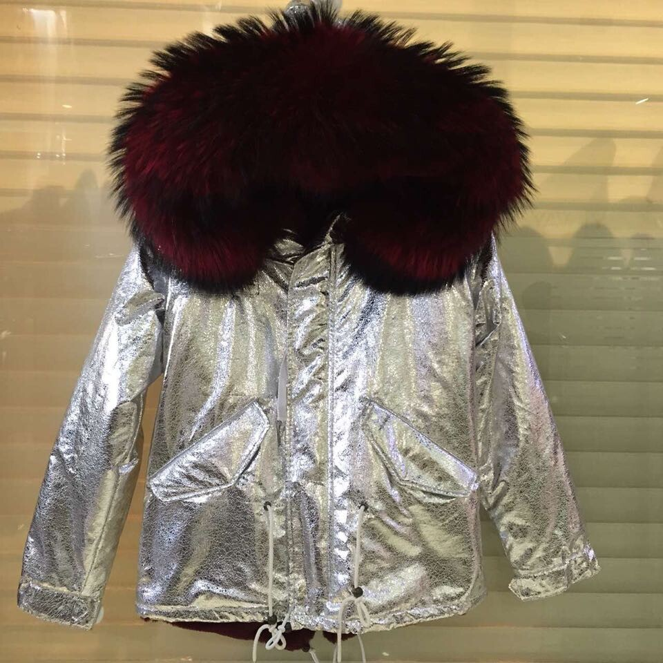 New Italy design sliver color women jacket with different color,big raccoon fur hood winter hooded