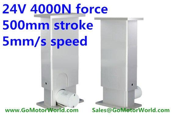4000N = 400 kg = 880LBS charge 5mm/sec = 0.2 pouces/sec vitesse 500mm = 20 pouces course 24 v DC colonne de levage pour réglable hauteur bureau jambe