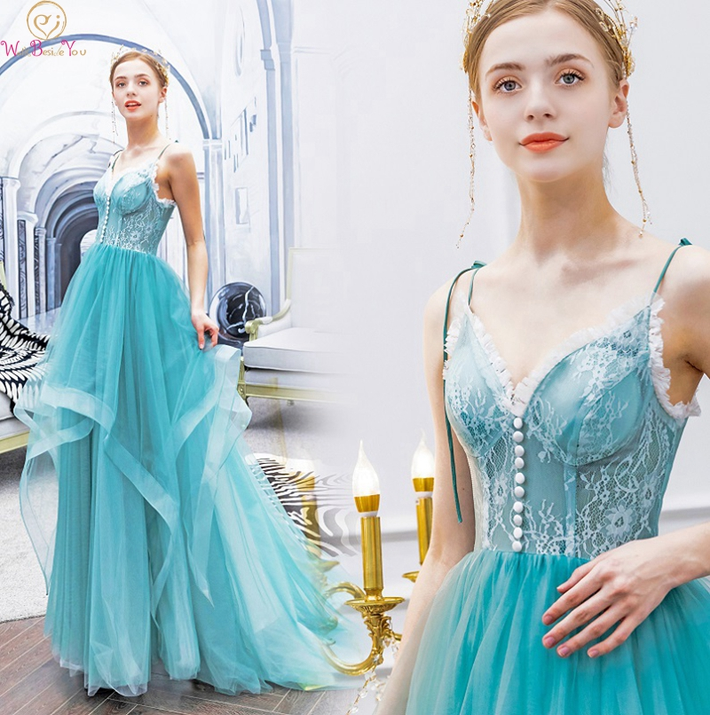 Light Blue Ruffles   Prom     Dresses   2019 Elegant Spaghetti Straps Formal Party Evening Gowns Tulle vestidos de gala Walk Beside You