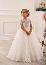 Elegant Vestidos Infantil Dresses Lace Appliques Cap Sleeve Beading Ruffles White Little Girl Princess Christams Tulle Ball Gown
