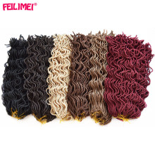 Feilimei Faux Locs Curly Crochet Hair 20 Inch 100g 24 Roots Synthetic Black Brown Blonde Winered Braid Hair Extensions