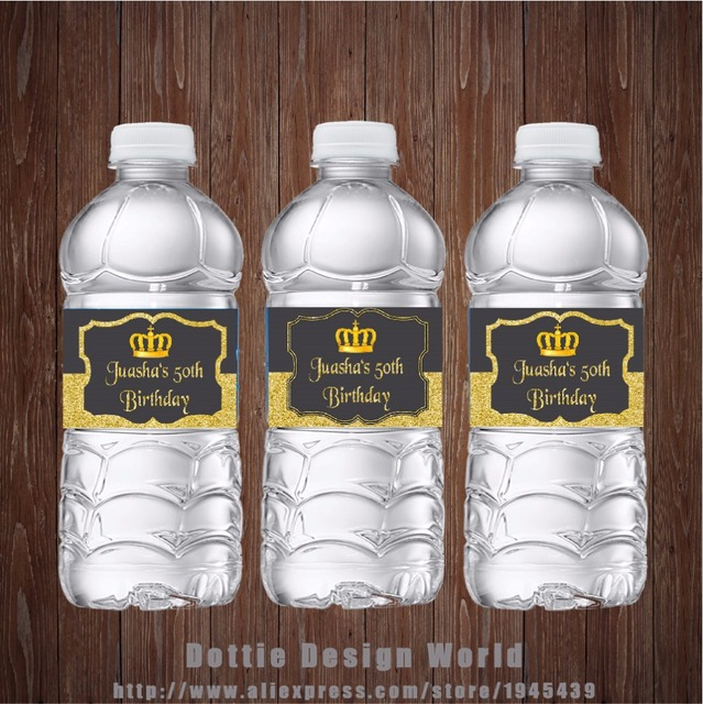 20 pcslot Gold glitter and grey Water Bottle Label Candy Bar