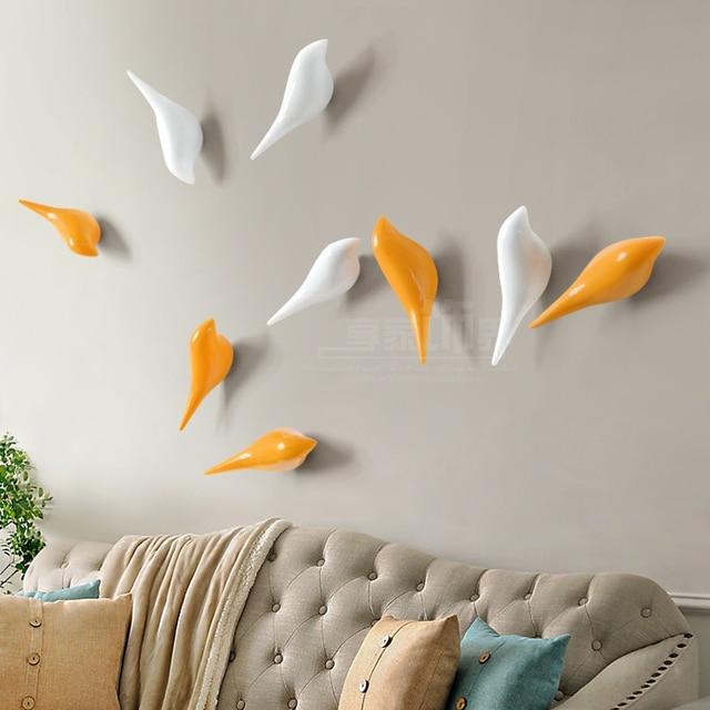 Creative Wall Hooks Bird Decoration Resin Wood Grain Bedroom Door After The Animals