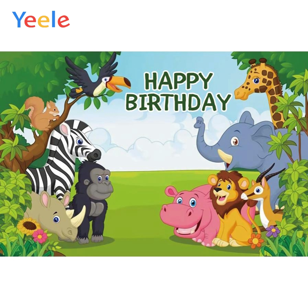 Yeele Cartoon Animals Trees Grassland Baby Birthday Party Photography Backdrops Children Photographic Backgrounds Photo Studio