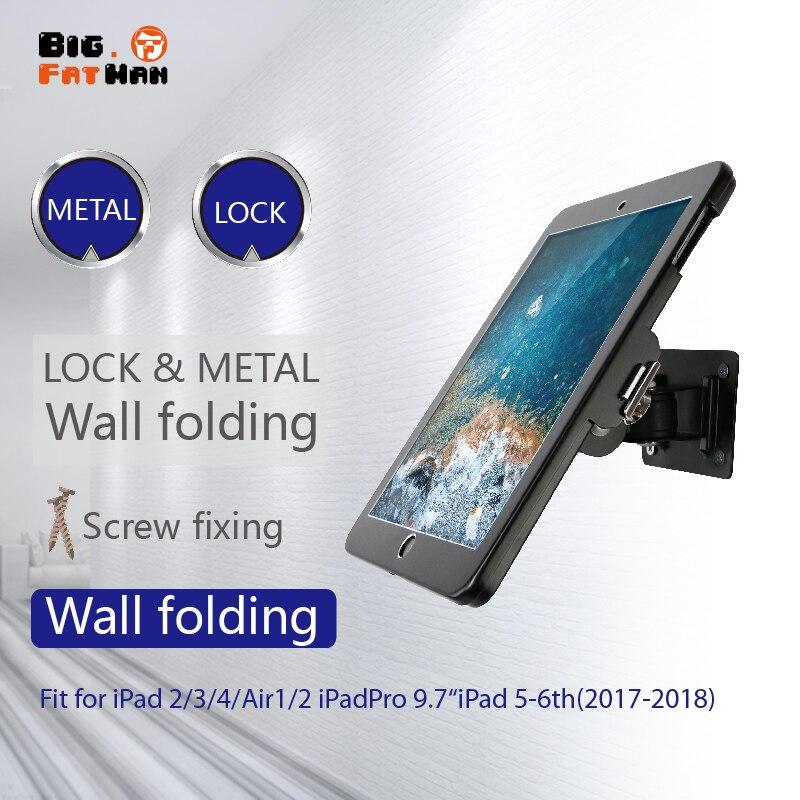 Apto para ipad 2/3/4/ar/pro montagem na parede caso de metal para ipad 9.7 suporte de exibição suporte de bloqueio tablet suporte ajustar o ângulo