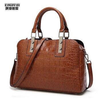 KIHUN Vintage PU Oil Leather Handbag For Women Bags Luxury Handbags Brand Designer High Quality Alligator Ladies Hand Bag Purse
