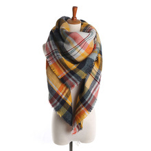 Z1562 Fashion Women Imitation Cashmere Cape Plaid Blanket Tartan Scarf Autumn Winter Fall Scarves Brand Shawls