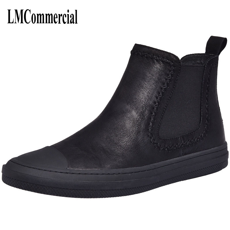 Autumn and winter high shoes men boots and leather retro trend of Korean male British Kobron cashmere thermal shoes men's boots martin boots men s high boots korean shoes autumn winter british retro men shoes front zipper leather shoes breathable