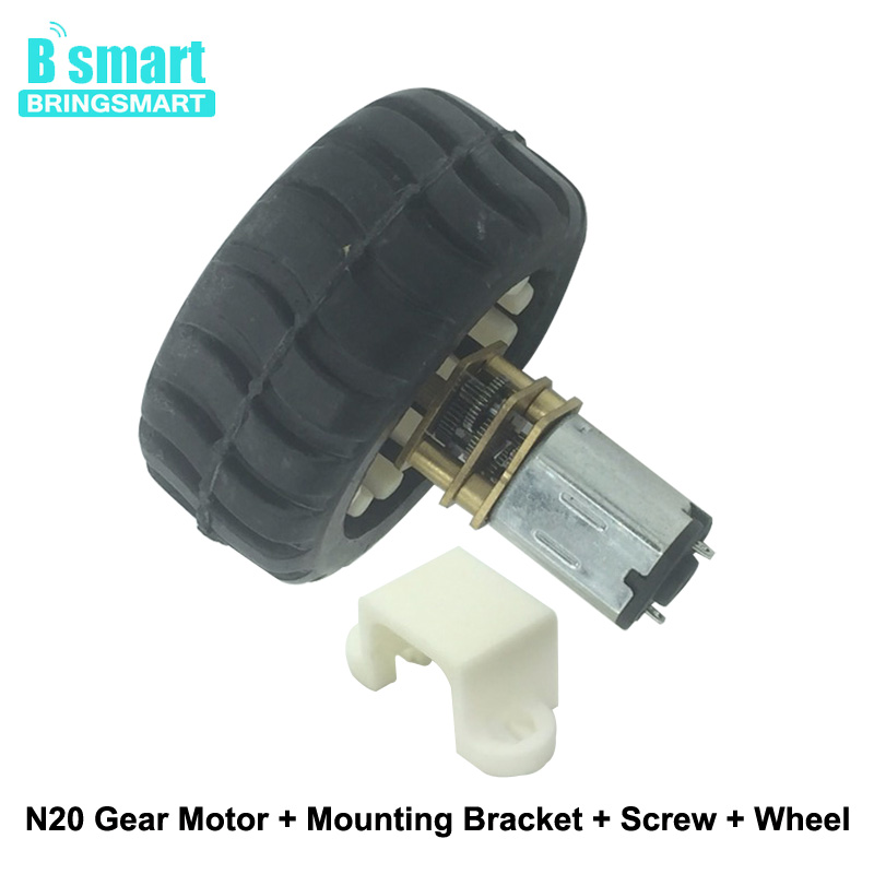 N20 DC Gear Motor 15-600RPM With Motor Wheel Plastic Bracket Screw Use For Robot Car DIY Electric Micro DC Motors For Toys etc. wholesale bringsmart 37mm diameter gear motor mounting bracket with screw shaft coupling for diy car use fixed motor bracket