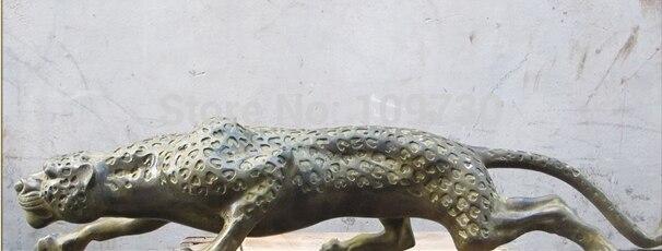 001189 28 Chinois Folk Classique bronze travail manuel sculpté Léopard sauvage animal statue - 5