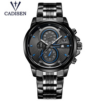 Mens Big Dial Watches Luxury Black Stainless Steel Quartz Men's Watch Chronograph Waterproof Calendar Luxury Brand Male Clock
