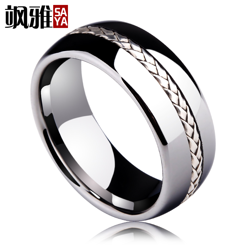 купить 2017 New Arrival Saya Brand 8mm Men's Tungsten Carbide Ring Silver Rope Inlay Wedding Band Size 7.5-11 Dome Band Comfort Fit по цене 2515.23 рублей
