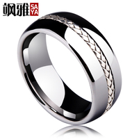2019 New Arrival Saya Brand 8mm Men's Tungsten Carbide Ring Silver Rope Inlay Wedding Band Size 7.5 10 Dome Band Comfort Fit
