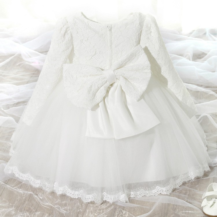 2b6954dc71d4a Winter Baby Girl Baptism Dress Long Sleeve Party Dresses Elegant Princess  Wedding 1 Year Birthday Dress Baby Christening Robe -in Dresses from Mother  & Kids ...