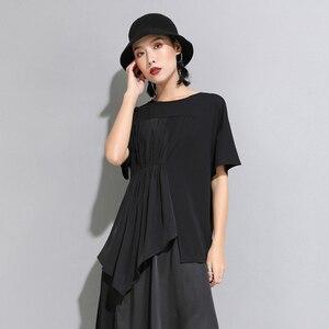 Image 4 - [EAM] 2020 New Spring Summer Round Neck Short Sleeve Black Pleated Split Joint Irregular Big Size T shirt Women Fashion JW596