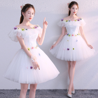 Free ship white/light blue ruffled tutu short lolita dress