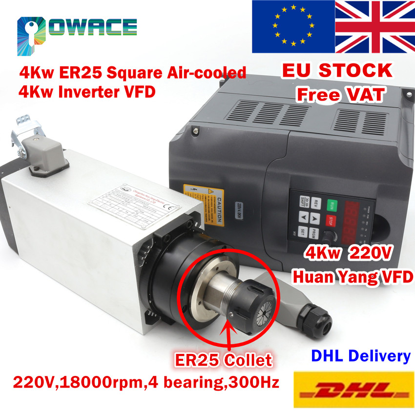 EU STOCK FREE VAT 4KW Square Air cooled Spindle Motor ER25 4 bearings 4KW VFD