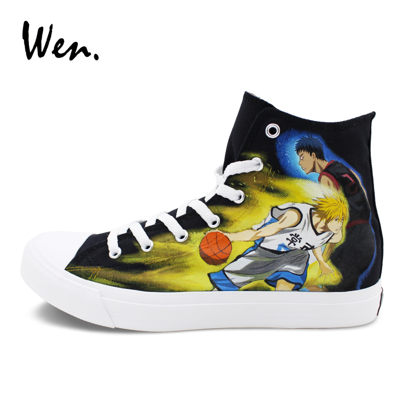 Wen Cartoon Anime Sneakers Men Women Canvas Flat Design Kuroko's Basketball Hand Painted Shoes High Top Lace up Footwear pink lace up design long sleeves top and pleated design skirt two piece outfits