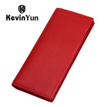 KEVIN YUN Designer Brand Fashion Genuine Leather Women Wallets RFID Blocking Long Slim Bifold Lady Card Holder Purse