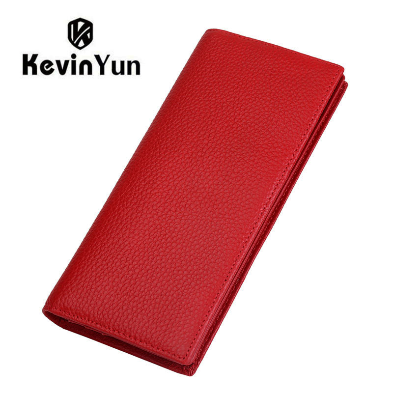KEVIN YUN Designer Brand Fashion Genuine Leather Women Wallets RFID Blocking Long Slim Bifold Lady Card Holder Purse