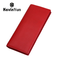 KEVIN YUN Designer Brand Fashion Genuine Leather Women Wallets RFID Blocking Long Slim Bifold Lady Card