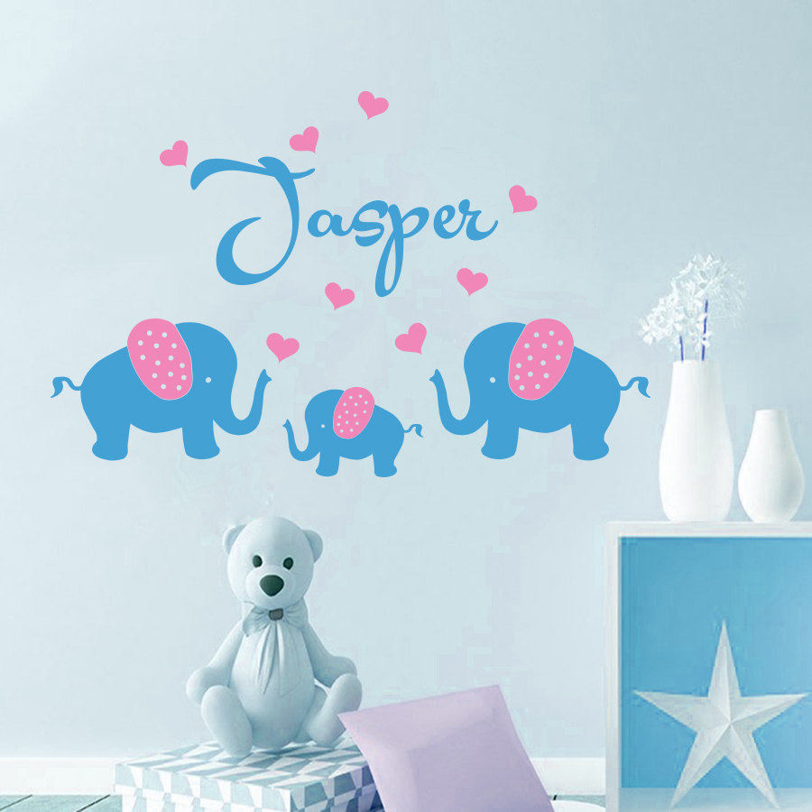 Decal Personalized Name Elephant family Heart Wall Sticker for kids ...