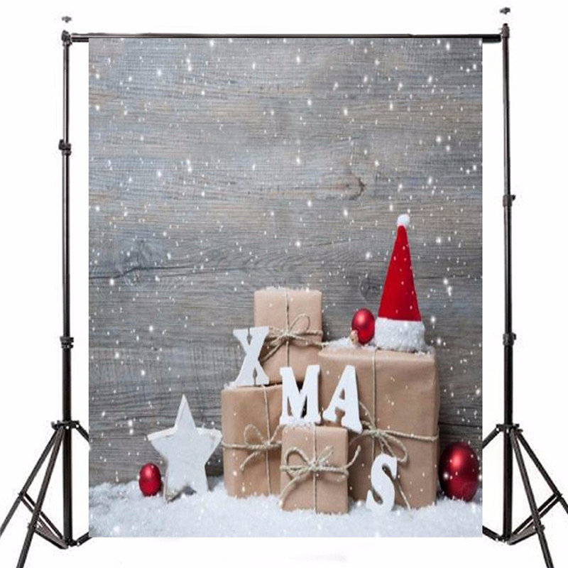1.5x2.1m Thin Vinyl Photography Background Christmas Gift Wood Snow Xmas Prop Photo Studio Backdrop vinyl studio backdrop photography prop christmas photo background 7x5ft