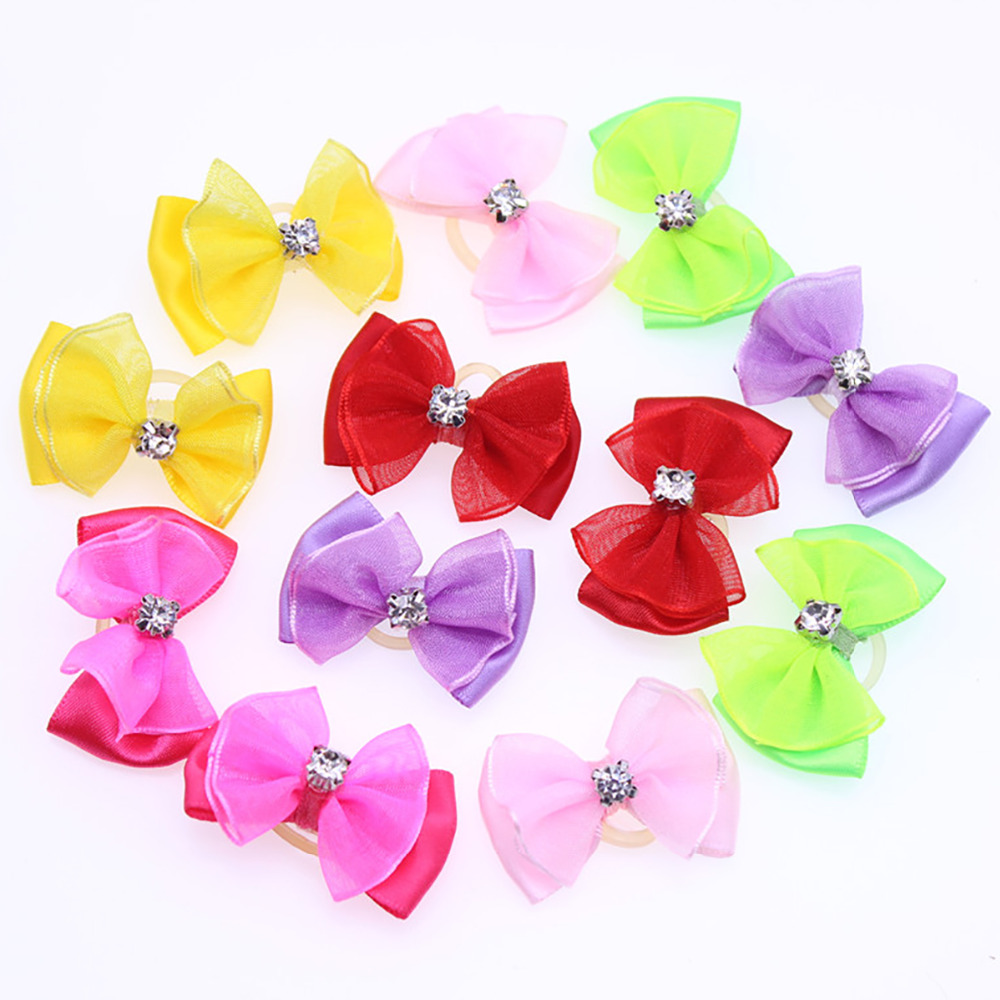 10pcs Dog Bows Cute Chiffon Dog Hair Bows Diamond  Dog Hair Accessories Det Grooming Bows Dog Accessories For Small Dogs