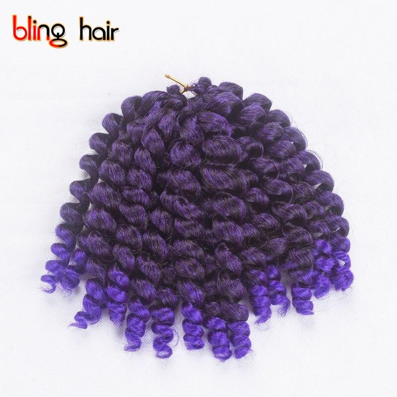 Bling Hair Crochet Braiding Hårprodukter 8 tum 20 rötter / st - Syntetiskt hår