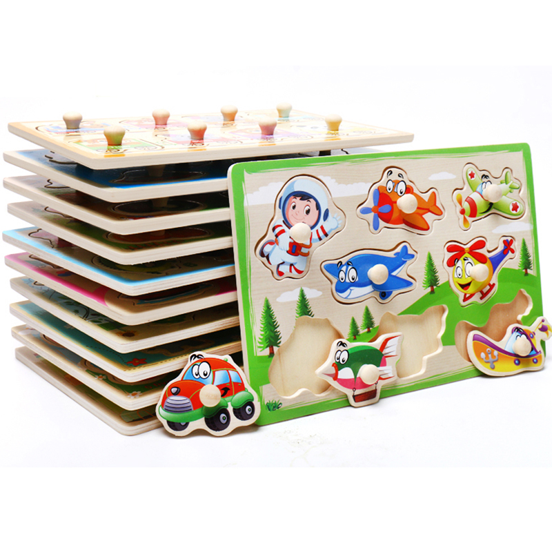 Baby Toys Montessori Wooden Puzzle Cartoon Vehicle Marine Animal Puzzle Jigsaw Board 12 Set Educational Wooden Toy Child Gifts 3