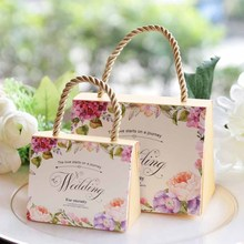 10pcs romantic Flower paper Candy Box kids adult Birthday wedding baby Bridal Shower gift bag chocolate