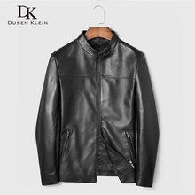 Men Genuine Leather Jacket Real Sheepskin Jackets Casual Short Black Stand Collar Pockets 2019 Autumn New Jacket for Man 19C211 цена 2017