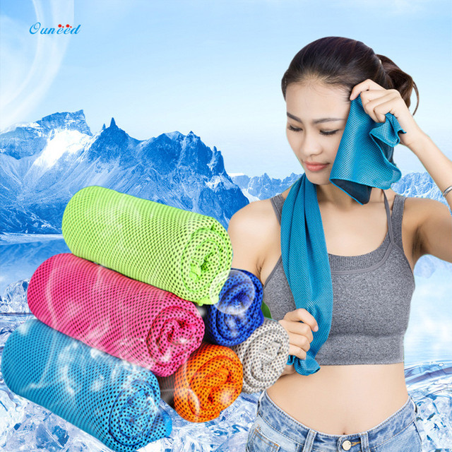 Ouneed Summer Iced Towel 31x100cm Fitness Dry Cooling Sports Towel High Quality Hypothermia Cold Toalla 1PC
