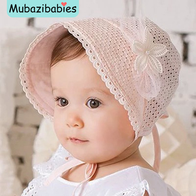princess hollow out sweet baby girl hat summer lace up beanie pinkwhite cotton - Sweet Baby Girl