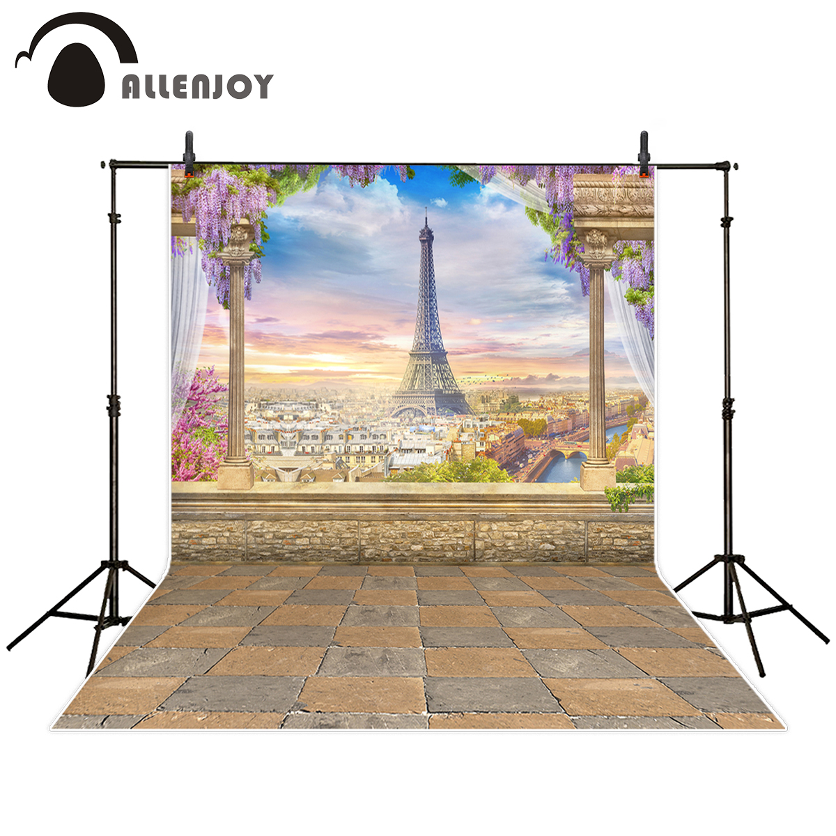 Allenjoy professional photography background beautiful Romantic paris Eiffel Tower Valentine's day backdrop photocall photobooth