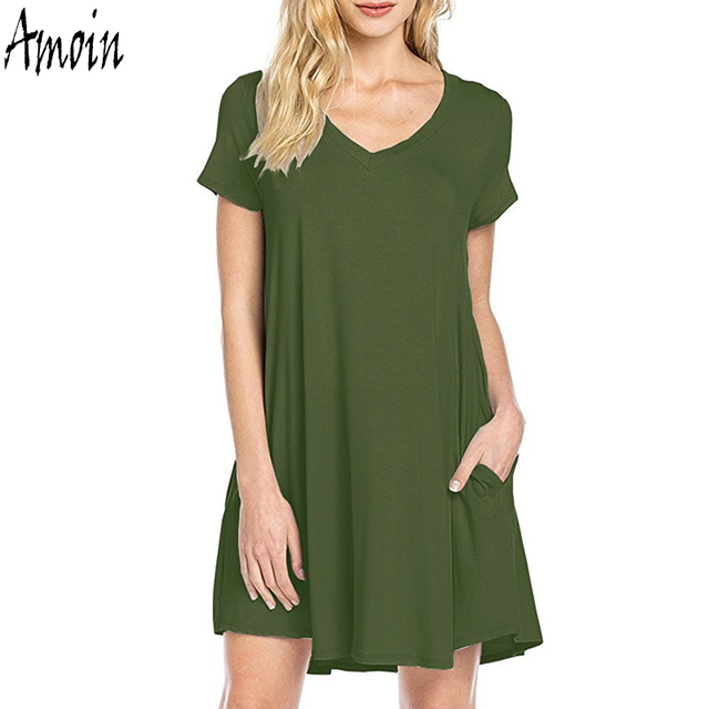 Amoin Plus Size Women Loose Clothing New 2017 Women Tunic Dress Summer Fashion Short Sleeve Cotton Pocket Casual T-shirt Dress