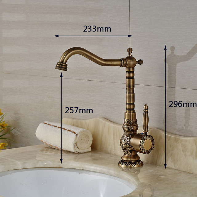 Home Decoration Bathroom Sink Mixer Faucet Crane Single Handle Water Tap Brass Antique Faucet Hot and Cold Water