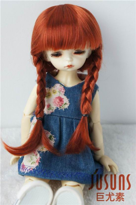 JD018B 1/6 Lati YOSD  6-7inch doll wigs 16-18CM synthetic mohair BJD wigs Anne double braid wig jd002 lati yellow doll wig 1 8 5 6inch synthetic mohair bjd wigs fountain lovely tiny doll wigs