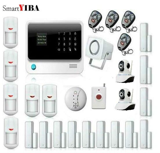 SmartYIBA умный дом WI FI IP Камера безопасности Системы для Беспроводной GSM WI FI GPRS Alarma Casa движения Сенсор дыма комплекты