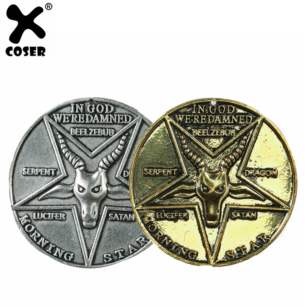 XCOSER Lucifer Pentecostal Coin Movie Cosplay Costume Props High Quality Zinc Alloy Gold Silver Coin For 2019 Halloween Party