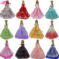 12 Items = 6 Random Wedding Party Gown Dress Clothes + 6 Necklace Accessories For Barbie Doll FR Kurhn Kids Toys Christmas Gift