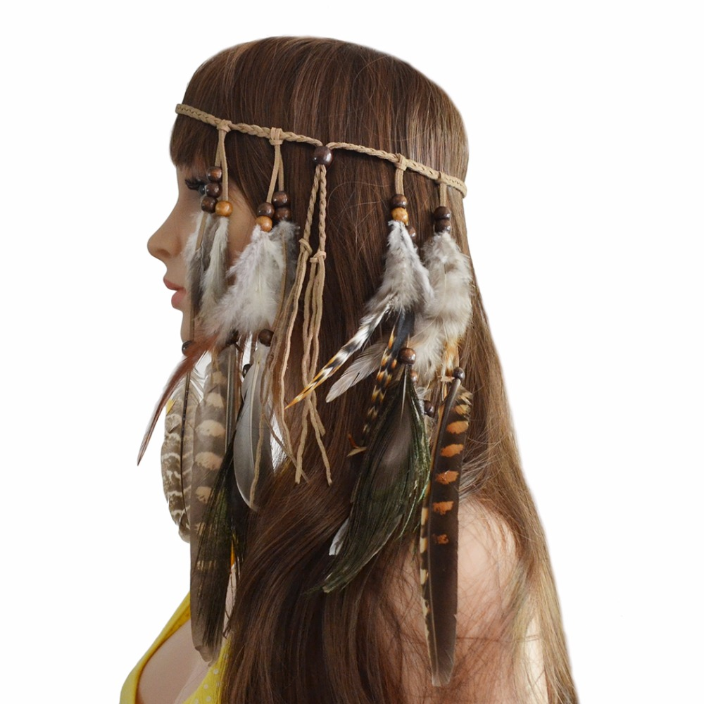 Jewelry & Accessories Gypsy Hippie Rope Feather Headbands Hair Tribal Armband Women Ethnic Wood Beads Headbands Armlets & Bracelet Indian Jewelry Sets