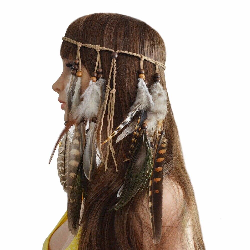 Turkish Handmade Boho Feather Festival Headband Headdress Women Tribal Indian Hair Feather Rope Headpieces Hippie Party Jewelry