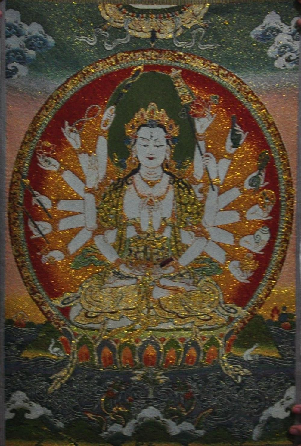 ᐊチベット仏教シルク刺繍タンカ...
