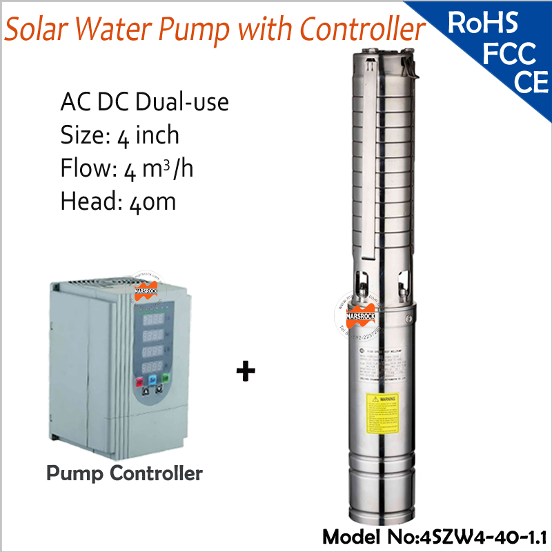 DC AC Dual-Use 4inch 1100W  Brushless high-speed solar water pump with flow 4T/H, head 40M for farm and house use solar pump lake beijing olympic use feili pump solar pump solar water pump