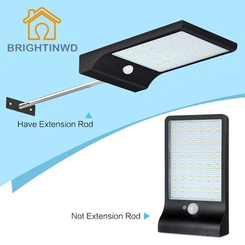 mais novo energia solar luz de rua 450lm 36 led pir sensor movimento lampadas rua