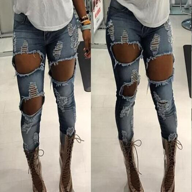 Fashion High Waist Women jeans Hole Pocket Stretch Skinny Ripped jeans Female slim Cool Denim Pencil pants Ladies pants