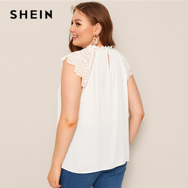 SHEIN Plus Size White Mock-Neck Guipure Lace Yoke Top Blouse 2019 Women Summer Elegant Contrast Lace Cap Sleeve Button Blouses 2